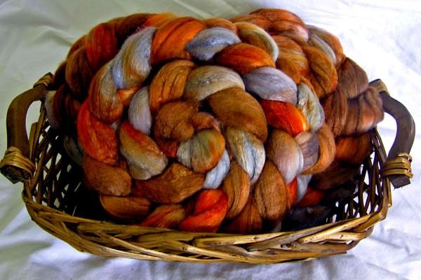 Rare Earth - 4 oz Hand Painted Polwarth/Silk Combed Top Fiber