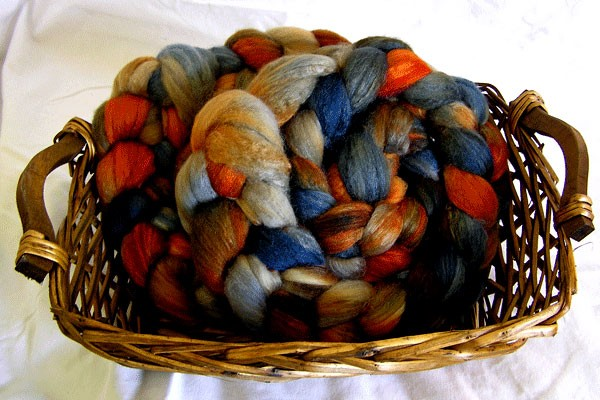 4oz Hand Painted Polwarth/Silk Combed Top Fiber - Twilight on Fire